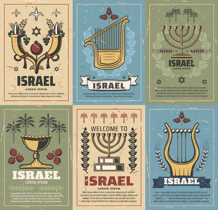 Israel vector design of Judaism religion and jewish culture symbols. Menorah, Star of David and Jerusalem lion of Judah, date palm, pomegranate and cornucopia. Israeli travel and tourism themes