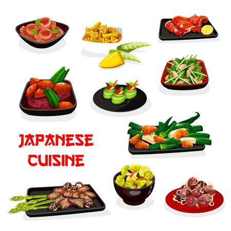 Japanese cuisine vector design of Asian vegetable dishes with meat and fish. Tuna cucumber sushi rolls, kobe beef and clam salad, chicken and pork stewed with miso sauce, bamboo, daikon and turnip