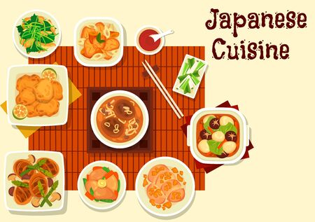 Japanese cuisine vector design of Asian meat dishes. Chicken soups and stews with mushroom, ginger and soy sauce, vegetable and herb salads, pork cutlet with fried asparagus, carrot and eggs