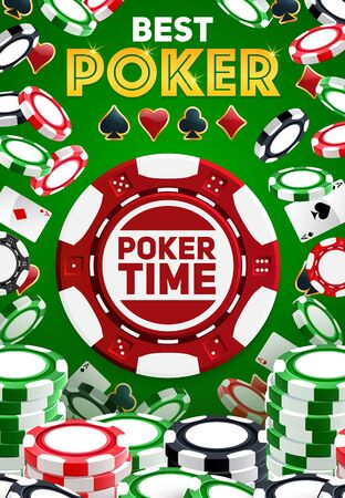 Poker signs, casino chips, gambling game. Vector casino symbol, aces suits spades, clubs, hearts and diamonds. Falling chips on green background Çizim