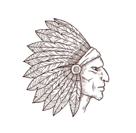 Indian from Wild West, native American people. Vector chief of tribe in traditional headdress, mascot of ancient indian people. Indigenous person, sketch