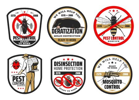 Control, desratización y desinsectación de plagas y mosquitos. Exterminador de vectores en uniforme con nebulizador frío rociando pesticidas herbicidas, luchando con insectos, roedores y bichos. Lunares y cucarachas Ilustración de vector