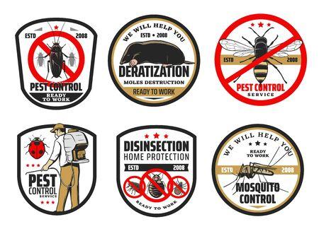 Schädlings- und Mückenbekämpfung, Deratisierung und Desinsektion. Vektor-Exterminator in Uniform mit kaltem Nebelgerät, das Herbizide, Pestizide sprüht und mit Insekten, Nagetieren und Käfern kämpft. Maulwürfe und Kakerlaken Vektorgrafik