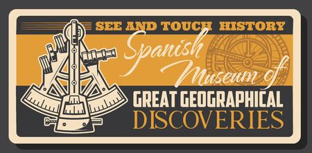 Sextant and astrolabe navigation instrument, Spanish great geographical discoveries. Vector tool measuring angular distance between two visible objects, measure attitude of sun above horizon