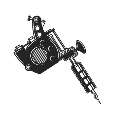 Tattoo machine or gun isolated monochrome object. Vector handheld electromagnetic coil device to create permanent marking of skin with ink. Tattoo salon or shop symbol, painting equipment with needle