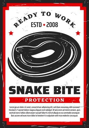 Snake bite protection prevention rules. Vector poisonous reptile animal, dangerous toxic viper, measures to protect yourself. Vertebrate aggressive snake, wildlife teethed venomous