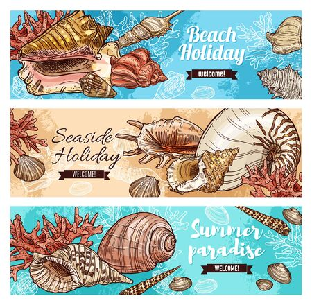 Beach holiday, marine shells and seaweeds, seaside holiday paradise. Seashell and mollusk, clam, snail, chiton and tusk shell. Scallop and pear whelk sea beach mollusk, corals and cockle, turret shell Иллюстрация