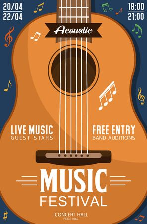 Music festival invitation, closeup of acoustic guitar, live music concert. Vector stringed instrument and bands audition, play on professional guitar. Ethnic music concert, note signs and party date
