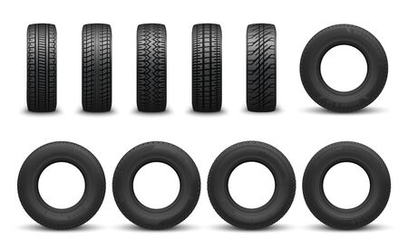 Car tire in vector, front side views. Vector vehicle tyres, round component surround wheel rim, provide traction on surface. Transport rubber wheel, types of tires with variety of tread patterns Stock Illustratie