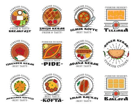 Turkish cuisine food isolated dishes. Vector shish kebab and izmir kofte, tulumba and iskender kebab, pide and adana, doner kebab. Mercimek koftesi and kofta, imam bayildi and baklava dessert