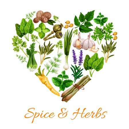 Kształt serca przypraw i ziół. Wektor kwiaty lawendy i por, gałka muszkatołowa, zielona bazylia, trawa cytrynowa i pietruszka. Czosnek i mięta, majeranek i estragon, mak, kardamon, koperek i szałwia, seler