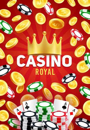 Royal casino, vector gambling games, poker playing cards and blackjack chips, golden crown and golden coins. Gaming entertainment, leisure