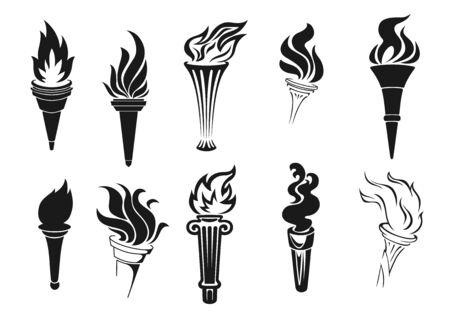 Icone di vettore della torcia di fuoco. Fiamme ardenti vettoriali, simboli di competizione, maratone e gare di rally, segni di campionato di gioco sportivo. Torce monocromatiche con fuoco o fiamma
