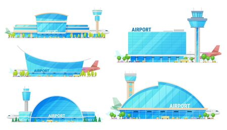 Airport modern buildings and traffic control tower isolated vector icons. Terminals and runway, planes, facades exteriors. Aviation infrastructure, airplane, bus and taxi near entrance Vetores
