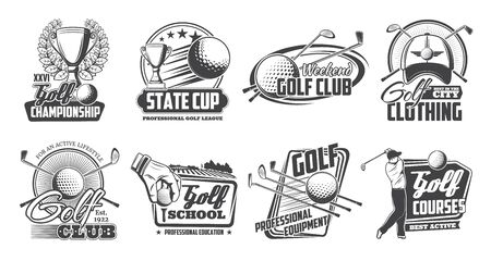 Golf club equipment and payers, vector icons. Sport game items ans cup award with laurel wreath. Tee course, golfing cart, ball on tee, hole and flag, sporting competition