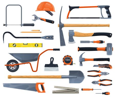 Work tools and diy isolated vector instruments. Garden and carpentry items, construction and woodwork accessories. Plastering and building, helmet and spade, measure ruler, hammer and screw Çizim