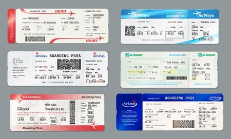 Airlines boarding pass and ticket templates. Vector air ways admission on flight with barcode or QR code, date and place of seat. Travelling by plane document, air transportation Illusztráció