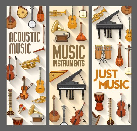 Acoustic music, folk, jazz and orchestra musical instruments. Vector contrabass and harp, piano and violin, maracas and saxophone. Ethnic drums and cymbals, trumpet and harp, banjo guitar, flute pipe