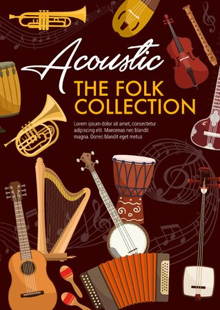 Folk musical instruments. Vector music notes, ethnic djembe drums, saxophone and accordion. Banjo guitar and balalaika, harp and notes stave, violin and flute, sitar and samisen
