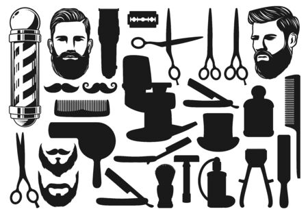Barbershop cut, shave and trim tool silhouettes and icons. Vector bearded man, pole signage and hairdresser equipment, moustache shaving and haircut. Scissors and dryer, comb and chair, brush Standard-Bild - 132118253