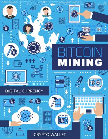 Bitcoin mining, cryptocurrency and digital wallet. Vector blockchain technology and international global payment system. Data exchange, storage and security, money extraction