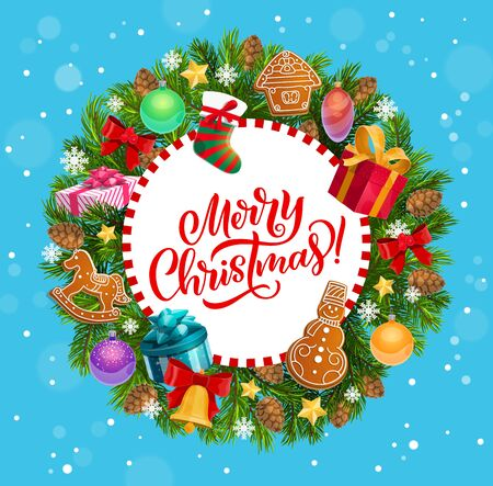 Christmas holiday greeting, Xmas tree wreath. Vector gingerbread cookies and sock, jingle bell and gift boxes, bow and cones, balls and presents, star and snowflakes, congratulation and celebration