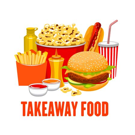 Takeaway food, fastfood snacks and drinks. Vector bucket of popcorn and fried potato, cola or soda and hamburger, hotdog, mustard, sauces in bowls. Cheeseburger and potato Ilustración de vector