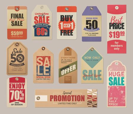Final sale labels, limited time special offer, best price retro cards. Vector fifty percent discounts, up to half clearance price, final season sale. End of season 70 percent off, promotion adverts Ilustração