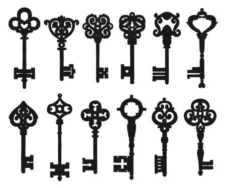Vintage ornamental keys isolated silhouettes. Vector medieval key composed of victorian leaf scrolls, fleur-de-lis elements and embellishment engravings. Metal keys with forged symbol on tip, bow Ilustração