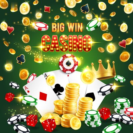 Casino symbols, big win in gambling games. Vector poker playing cards and golden crown, stacks of blackjack chips and slot machine coins. Four aces spades and hearts, diamonds and clubs, gaming hobby Standard-Bild - 133938490