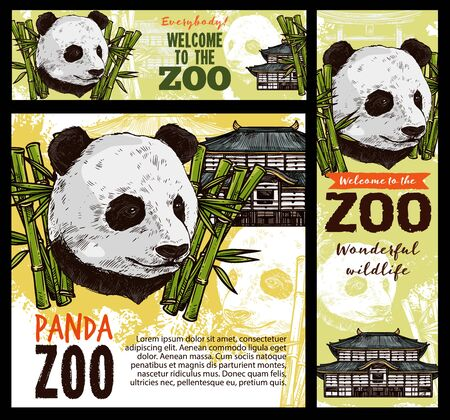 Panda zoo, bamboo leaves and chinese pagoda sketch. Vector cartoon panda bear head mascot and national asian building, invitation in zoology world. Endangered animal in conservation Illustration