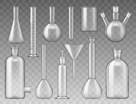 Vector chemistry, medical and pharmaceutical laboratory glass bottles and containers, tests tubes, flasks and funnels. Isolated glass objects