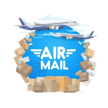Air mail, isolated round frame of parcels, letters and plane. Vector airplane in sky and cargo, letter envelopes and parcels, freight shipping packs, postal stamps. Air post global delivery, aircraft Vektorové ilustrace
