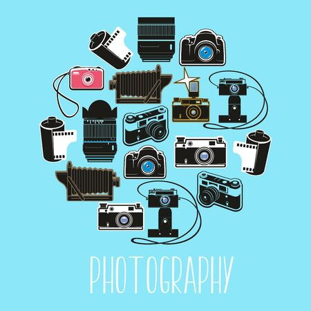 Modern and retro photography camera vector equipment. Professional digital photo tools, lens and film. Vintage photo camera with cartridge, flash light