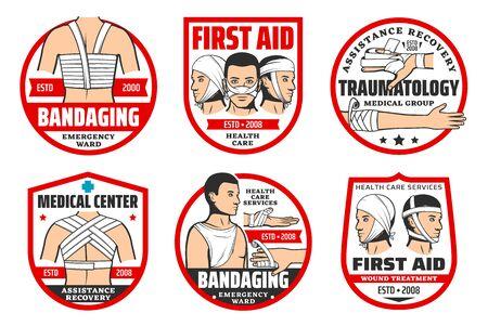 Premiers secours en traumatologie, traumatologie et bandage d'icônes isolées. Service d'urgence vectorielle, service de soins de santé, assistance et récupération. Traitement des plaies, du visage, de la poitrine, du dos et des bras, bandage des doigts Vecteurs