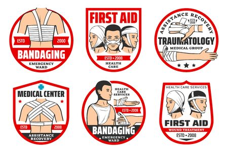 First aid at trauma, traumatology and bandaging isolated icons. Vector emergency ward, health care service, assistance and recovery. Wound treatment, facial, chest, back and arms, fingers bandage Illustration