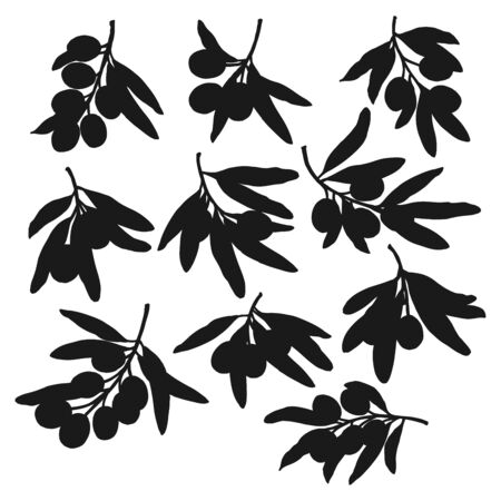 Olives branches black silhouettes, isolated vector. Olive fruits and leaves, natural farm products extra virgin oil seasoning ingredients. Mediterranean cuisine symbol Çizim
