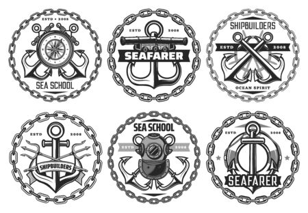 Seafarer and shipbuilders, navy and nautical vector icons. Crossed anchors, antique diving mask, trident and metal chains, ompass and steering wheel, life belt and rope