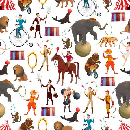 Circus entertainment show seamless pattern. Vector background of circus tamer with lion in fire ring, elephant and monkey, muscleman and bear on bicycle, illusionist juggling and clowns pattern