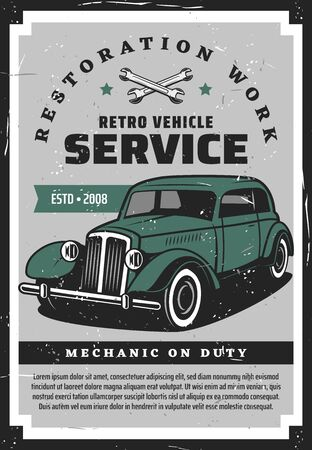 Retro vehicle service, restoration works. Vector rare transport restoring, crossed spanners and green vintage car, mechanic on duty. Spare parts replacement, wheel wrench and transport diagnostic Illustration
