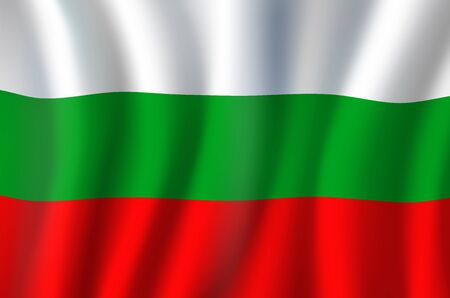 Flag of Bulgaria three equal-sized horizontal bands of white, green, and red. Vector tricolor waving banner, national flag of Republic of Bulgaria, country patriotic symbol