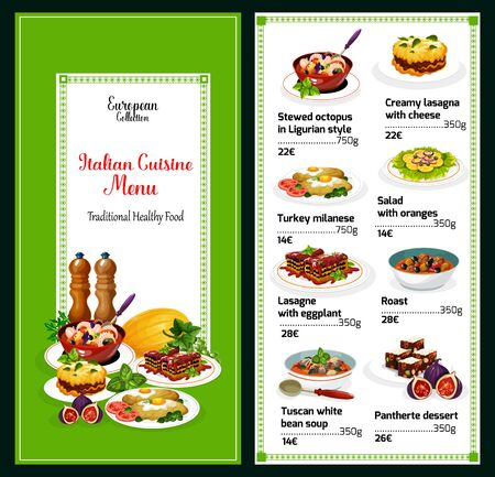 Italian cuisine vector menu. Stewed octopus in Ligurian style, creamy lasagna with cheese and eggplant, turkey milanese. Salad with oranges, roast and tuscan white bean soup, pantherte Иллюстрация