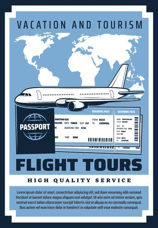 Vacation and tourism, flight tours on international airlines, passport and tickets. Vector retro map of world, plane and boarding pass. Airplane or aircraft, tickets on voyage, admission on board