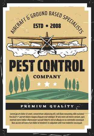 Pest control, crop duster biplane and agricultural field. Vector airplane spraying pesticides and herbicides. Agriculture and cultivation, flying dusting plane over farmland, insects controlling