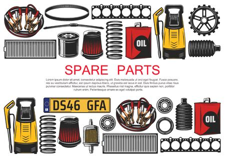Spare parts, car accessories. Vector high-pressure cleaner, air filter and vehicle number plate, motor oil, engine belt. Wiper blade and start battery cable, bearings and drive belts, tuning Stock Illustratie