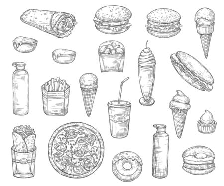Fast food monochrome sketch icons. Vector snacks and desserts, drinks and pizza, french fries, coke or soda, hamburger or cheeseburger. Hot dog and ice cream cone, donut Ilustração