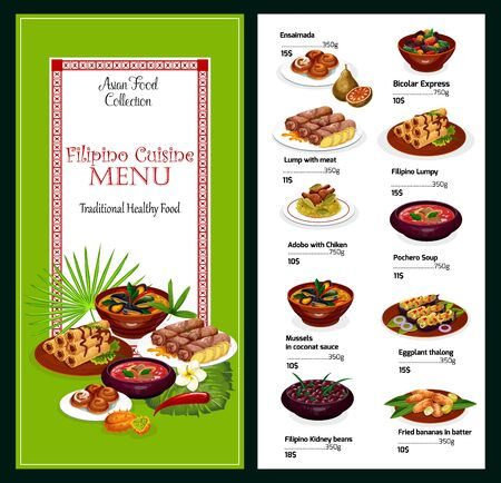 Filipino cuisine vector menu, asian food. Ensaimada and bicolar express, lump with meat and lumpy, adobo with chicken and pochero soup, mussels in coconut sauce, eggplant thalong, kiddney beans