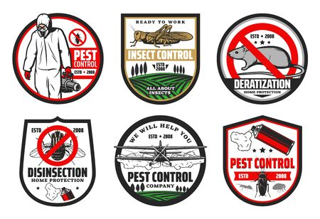 Pest and insect control, deratization and disinsection isolated icons. Vector house and harvest protection, exterminator in chemical protextive uniform with sprayer. Rat and crop duster biplane 免版税图像 - 132118264