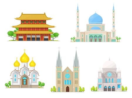 Christian church, catholic cathedral, muslim mosque and buddhism pagoda temple religion buildings. Vector asian monastery, christianity convent and catholic abbey, arabian mosque
