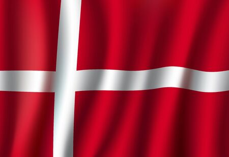 National flag of Denmark, red banner with white cross. Symbol of Denmark on wavy cotton fabric, patriotic symbol